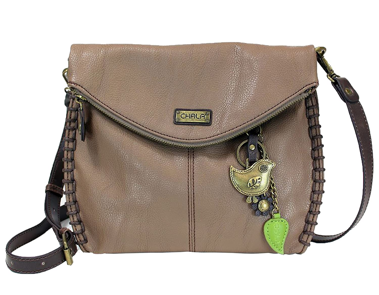 9e615b448 Chala Charming Crossbody Bag with Zipper Flap Top and Metal Chain - Light  Brown - Bird: Handbags: Amazon.com