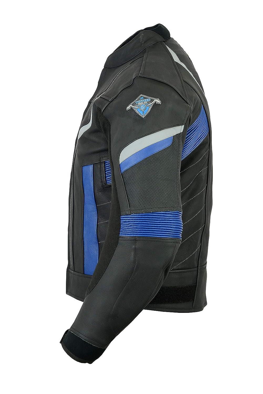 erh/ältlich in 3 Farben Herren Motorradjacke aus schwarzem Leder f/ür Rennen Texpeed Pro entfernbare Protektoren