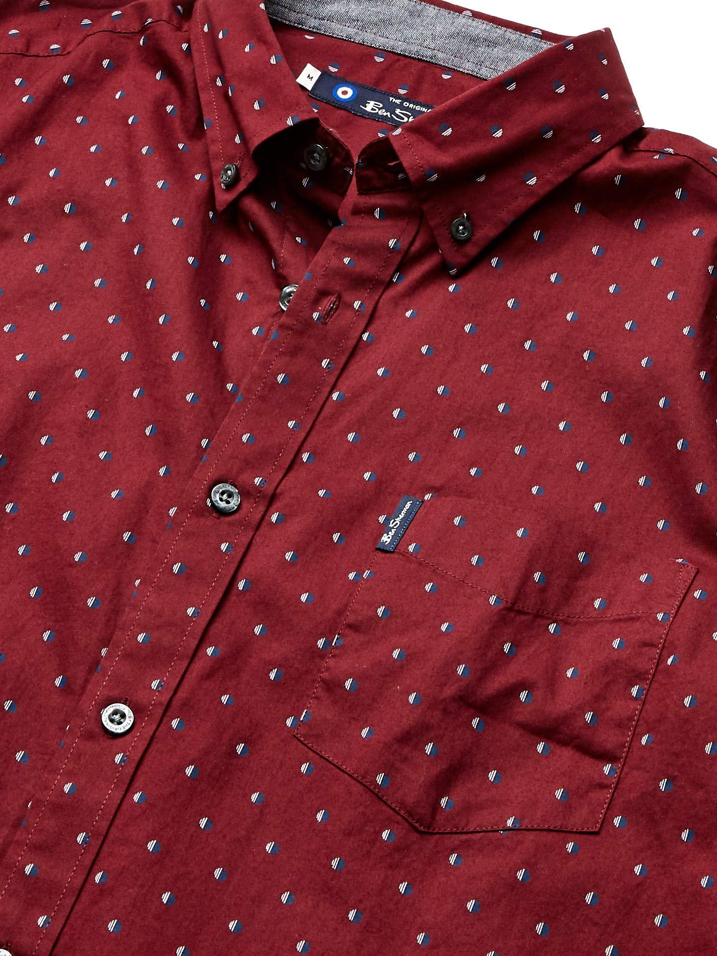 Ben-Sherman-Men-039-s-SS-SPT-Stripe-Print-Shirt-Tawny-Choose-SZ-color thumbnail 4