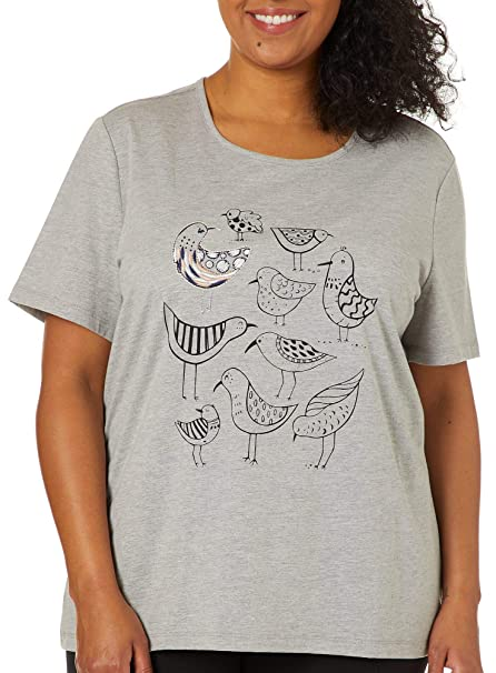 cf019889b6a Coral Bay Plus Embroidered Sandpipers Top 1X Grey Multi at Amazon ...