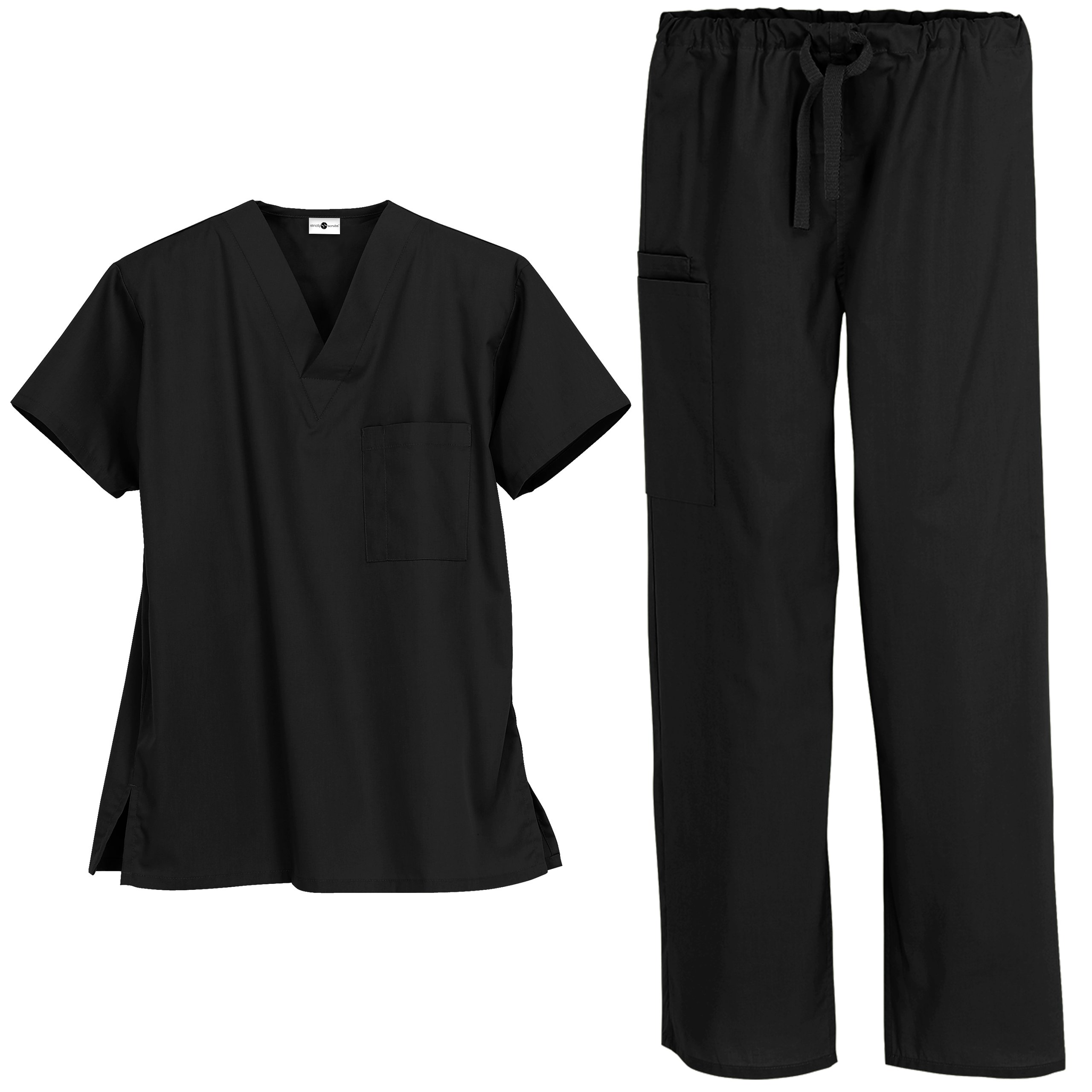 Strictly Scrubs Unisex Medical Uniform Set (X-Large, Black)