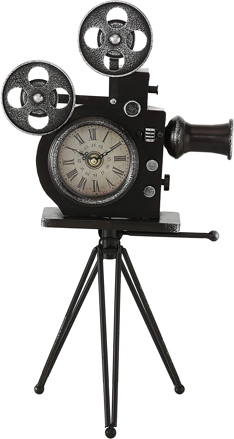 Hollywood Projector Clock, Retro Movie House Sculpture, Roman Numerals, Quartz Movement, Battery Powered, (1 AA) 11.5 L x 8 W x 20.5 H
