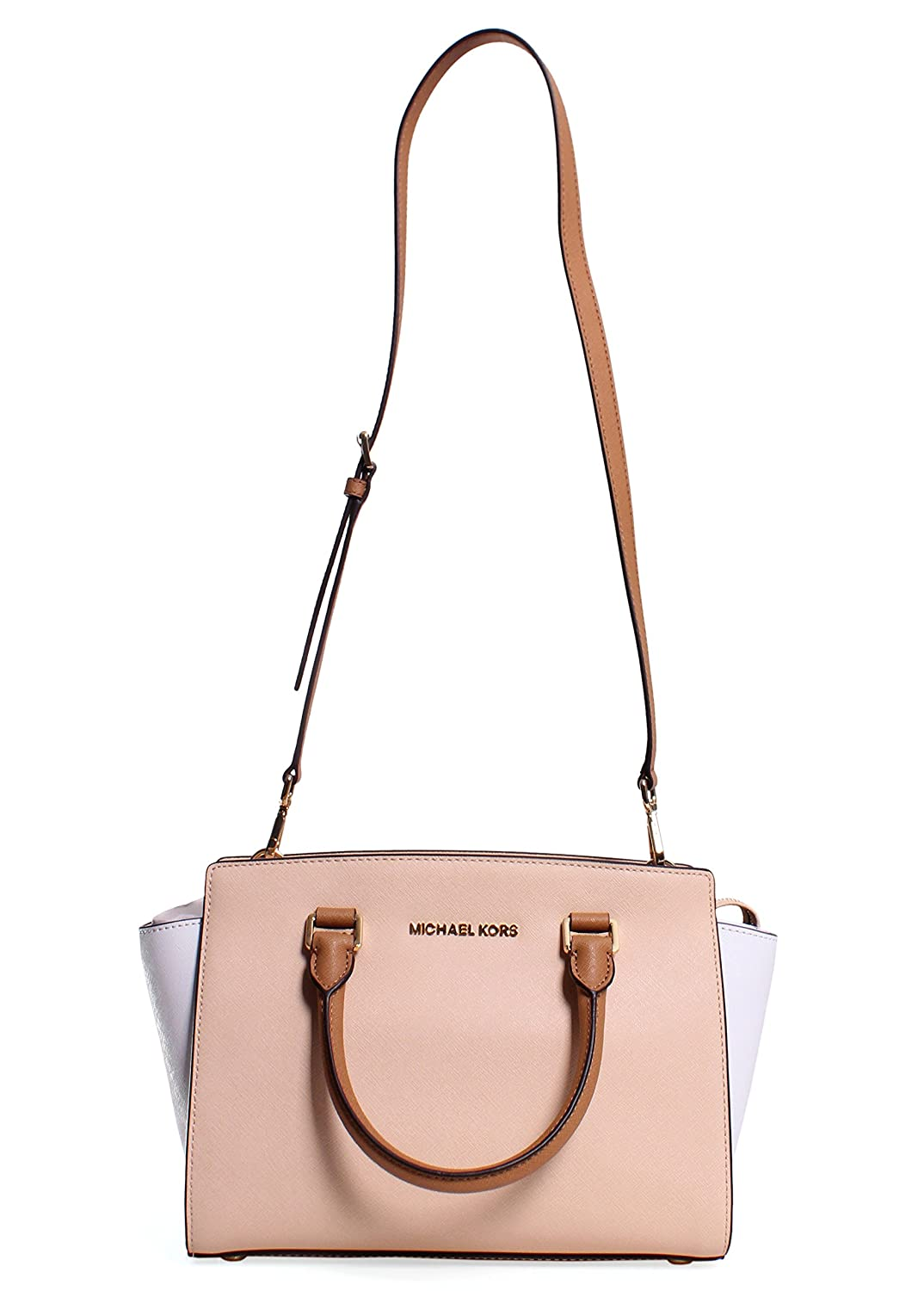 ec91357568f0c6 Michael Kors Selma Medium Color-block Saffiano Leather Satchel Nude/white/peanut:  Handbags: Amazon.com