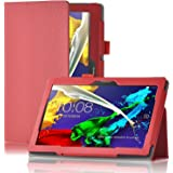 ELTD Lenovo Tab 2 A10-70 Etui, Ultra Slim PU Leather etui Housse pour Lenovo Tab 2 A10-70, Rouge