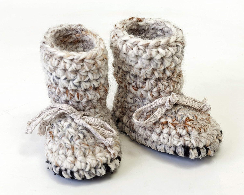 Sheepskin Tall Baby Booties Crochet Wool Slippers Non Slip Soft