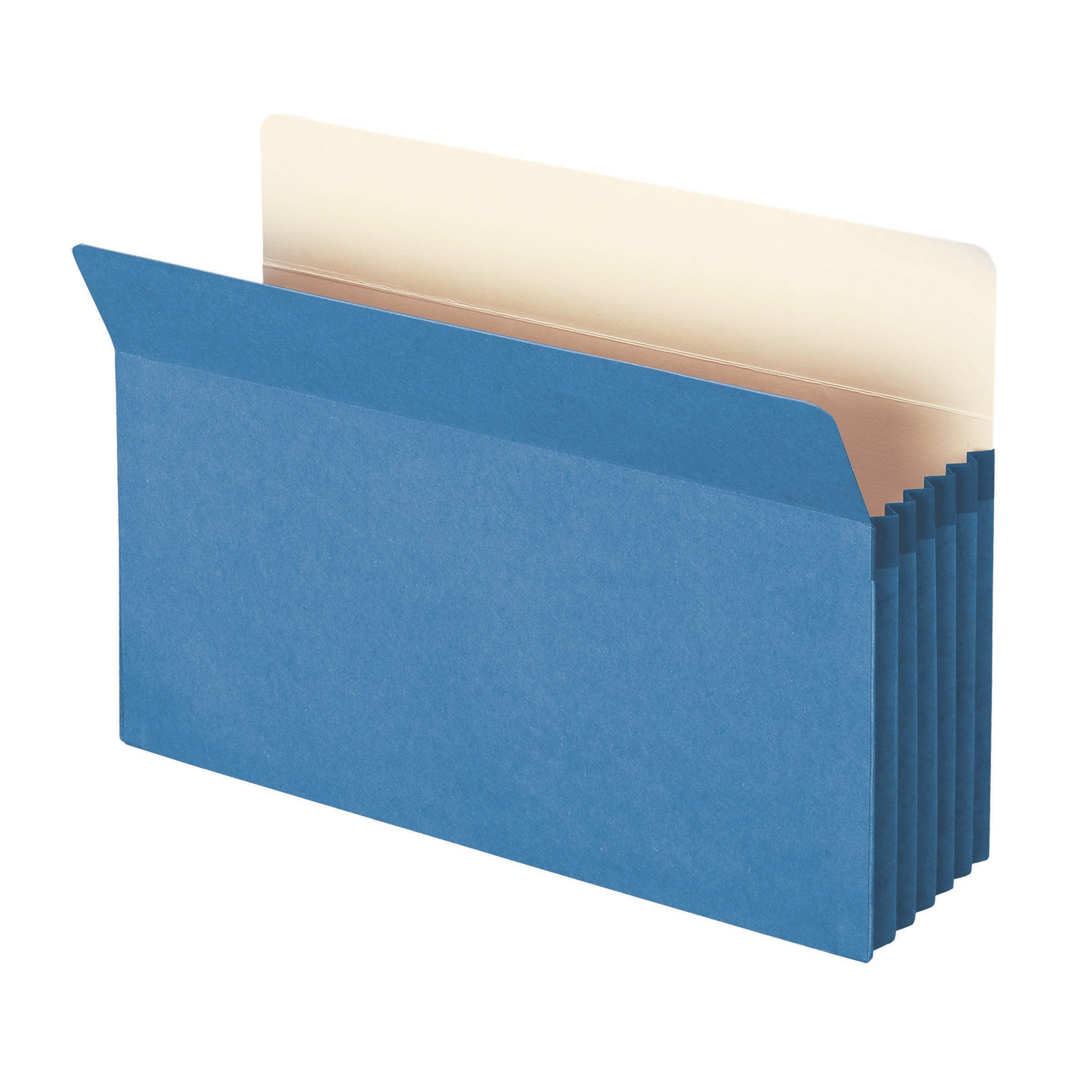 Smead File Pocket, Straight-Cut Tab, 5-1/4'' Expansion, Legal Size, Blue, 10 per Box (74235) by Smead