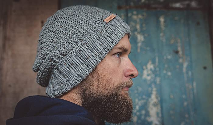 bd99ec62307 Amazon.com  Light Grey Handmade Knit Wool Beanie for Men  Handmade
