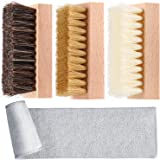 Dual Sided Sneaker Shoe Cleaner Brush Set Boar and Plastic Bristles with Microfiber Cloth