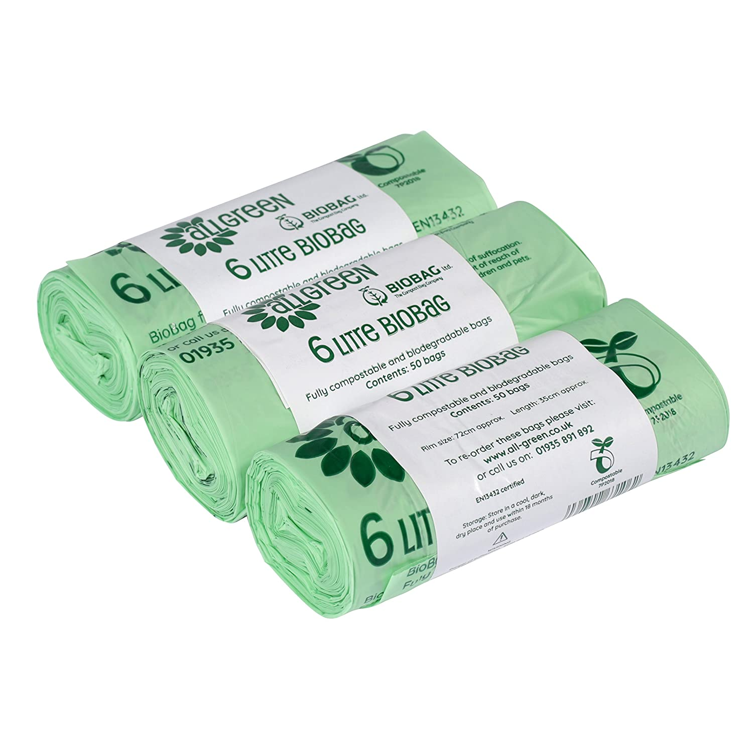 All-Green 6 Litre Biobag Compostable Kitchen Caddy Liners Food Waste Bin Liners, 150 Bags GroceryCentre VC 6L-3