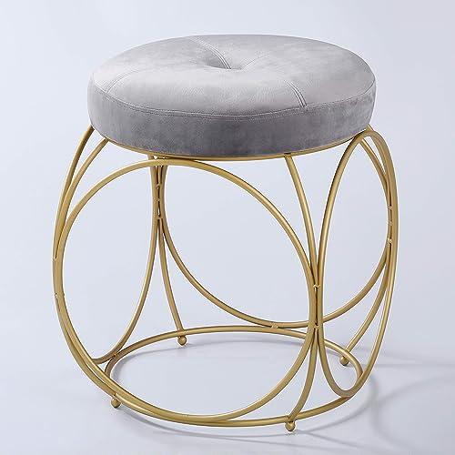 Seyazly Ottoman Modern Round Velvet Upholstered Side Table Seat
