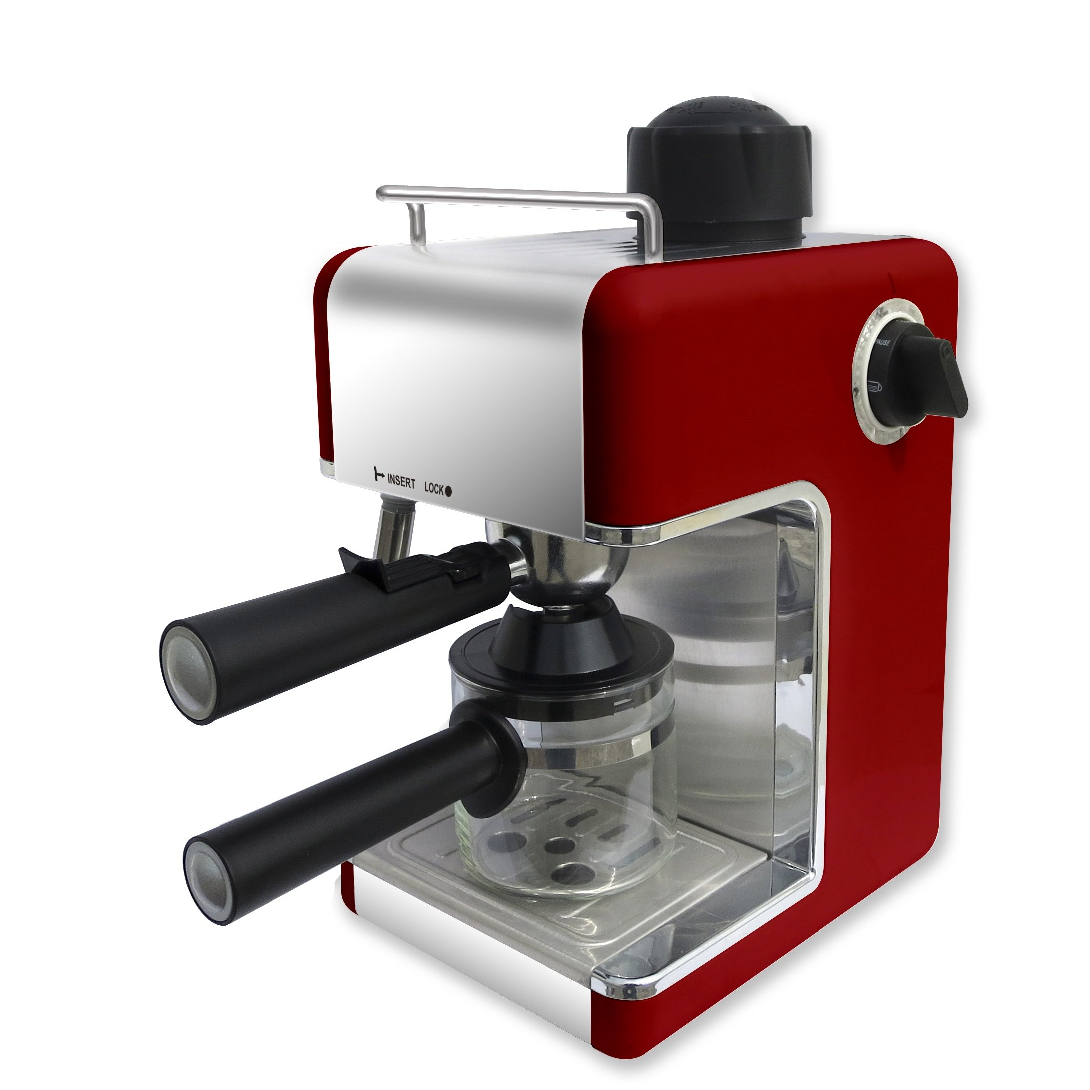 Bene Casa BC-99148 4-Cup Red Espresso Maker with Frother by MBR