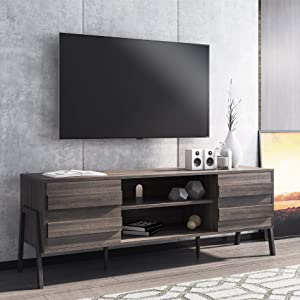 FITUEYES Mid-Century Modern TV Stand for TV up to 65 inch, Wood TV Console Storage Cabinet, Retro Home Media Entertainment Center for Flat Screen TV Cable Box Gaming Living Room Furniture, Rustic Oak