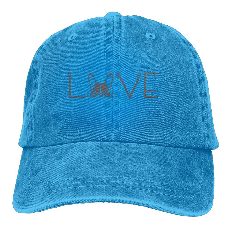 JTRVW Mens Womens Love French Bulldog Cotton Adjustable Peaked Baseball Dyed Cap Adult Custom Casual Baseball Cowboy Hats