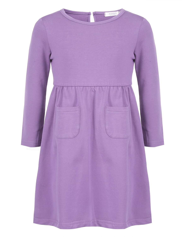 Arshiner Little Girls Dress Long Sleeve Solid Color Casual Skater Pocket Dress AMS005167
