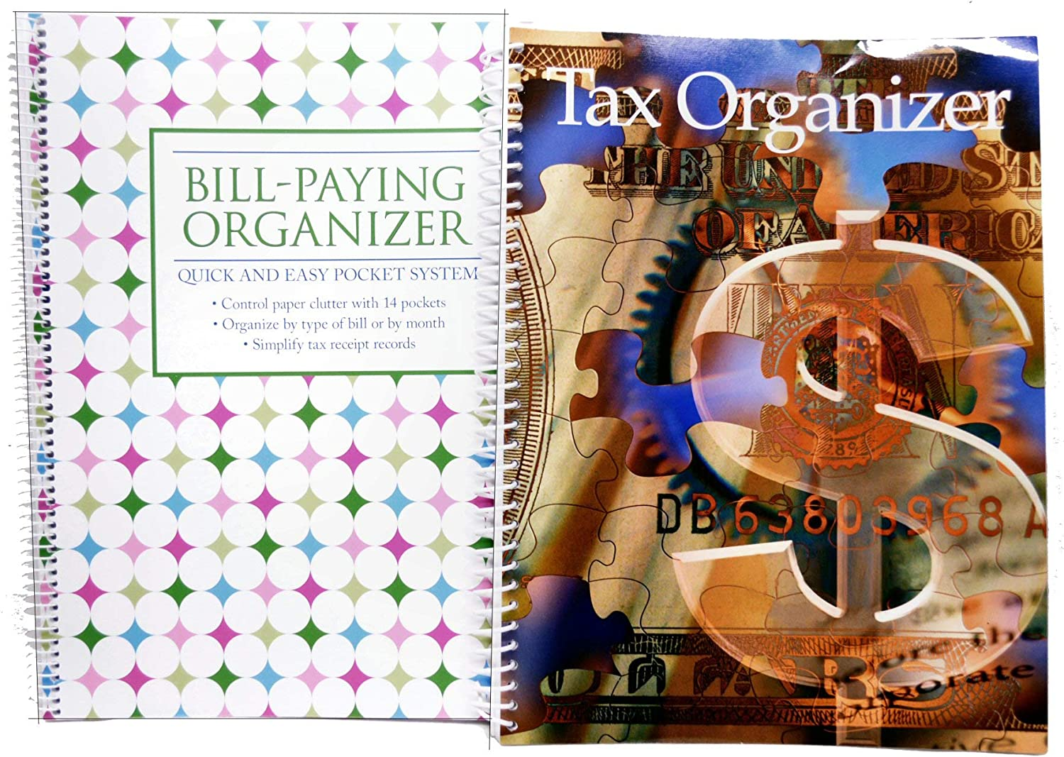 Bundle Set of Monthly Bill Paying Organizing Organizer Budget Book with Pockets - Plus Income Tax Information Organizer - DOTS, Neon Brights