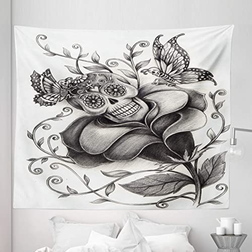 Lunarable Mexican Tapestry King Size, Skull Day of The Dead Butterfly Rose and Flower Holiday Culture Artwork, Wall Hanging Bedspread Bed Cover Wall Decor, 104 X 88 , Black White
