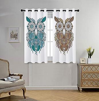 amazon com stylish window curtains owls home decor dreamcatcher