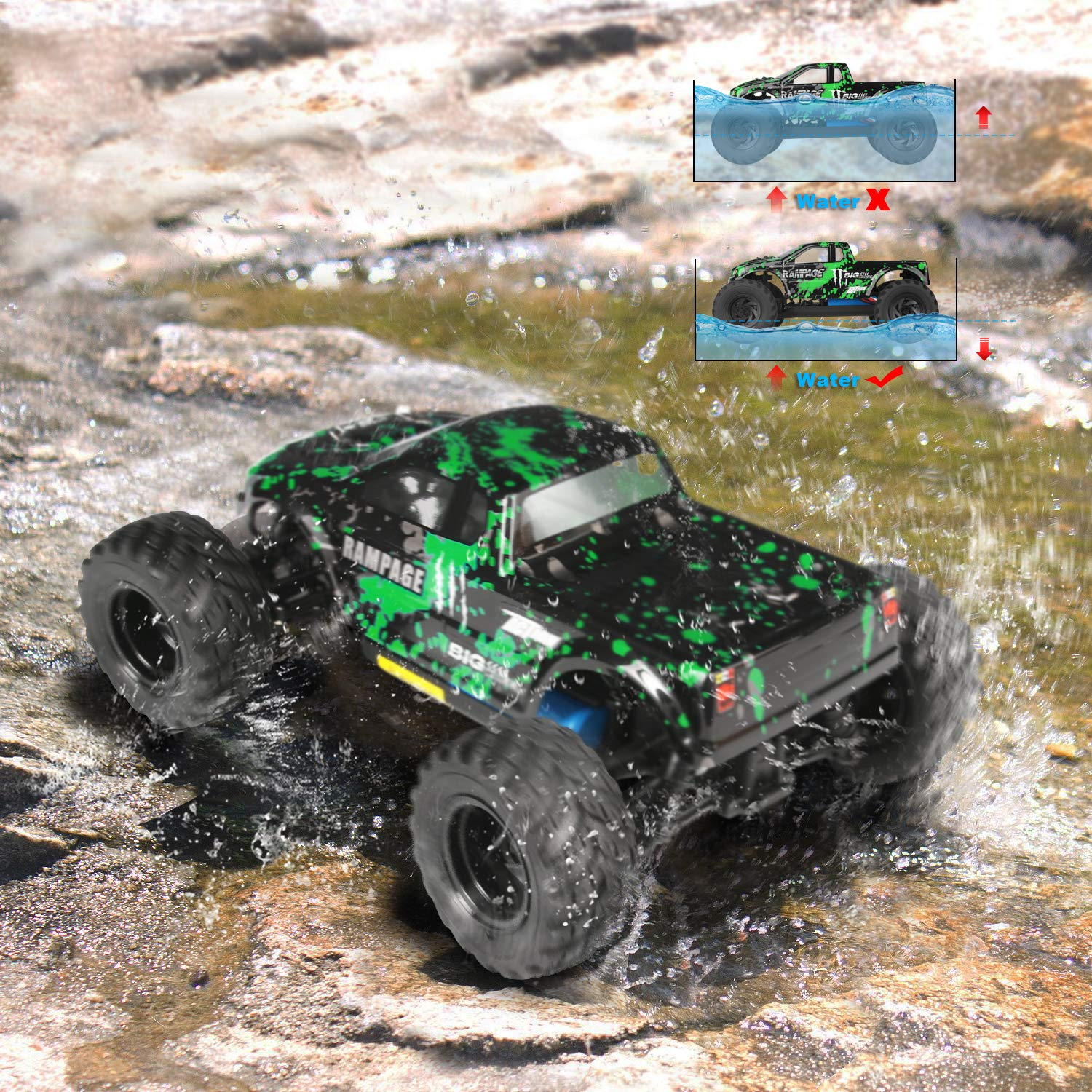 HBX 1:18 Scale All Terrain RC Car 18859E, 30+MPH High Speed 4WD Electric Vehicle with 2.4 GHz Radio Controller, Waterproof Off-Road Truck Included Battery and Charger by BBM HOBBY (Image #4)