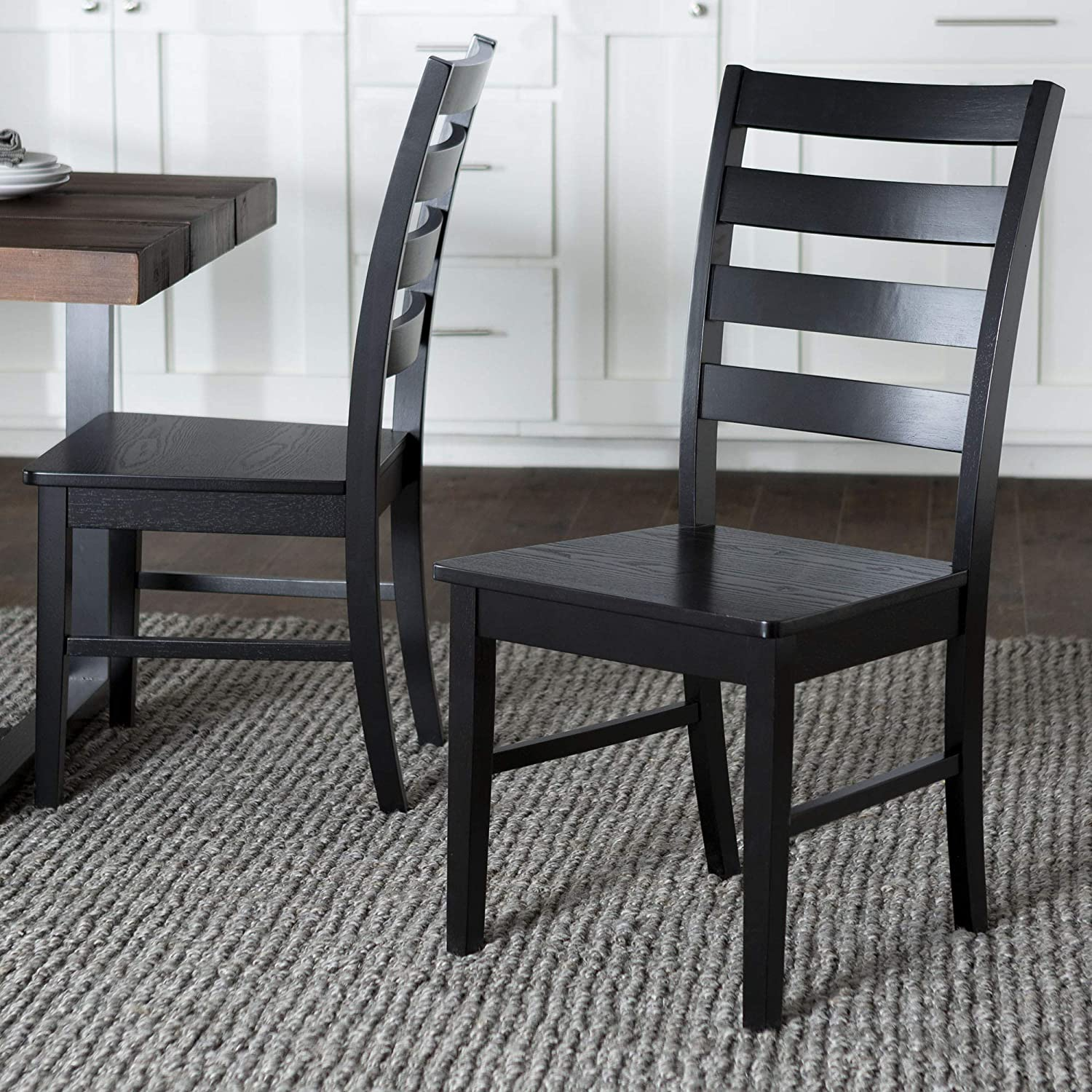 WE Furniture Modern Farmhouse Wood Kitchen Dining Chair, Set Of 2, Black