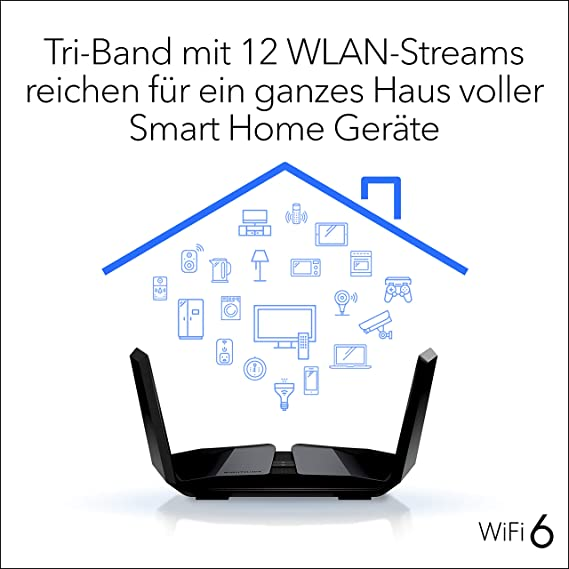 Netgear Nighthawk Rax200 Wifi 6 Wlan Router Ax11000 12 Stream Tri Band Ax12 Mit Bis Zu