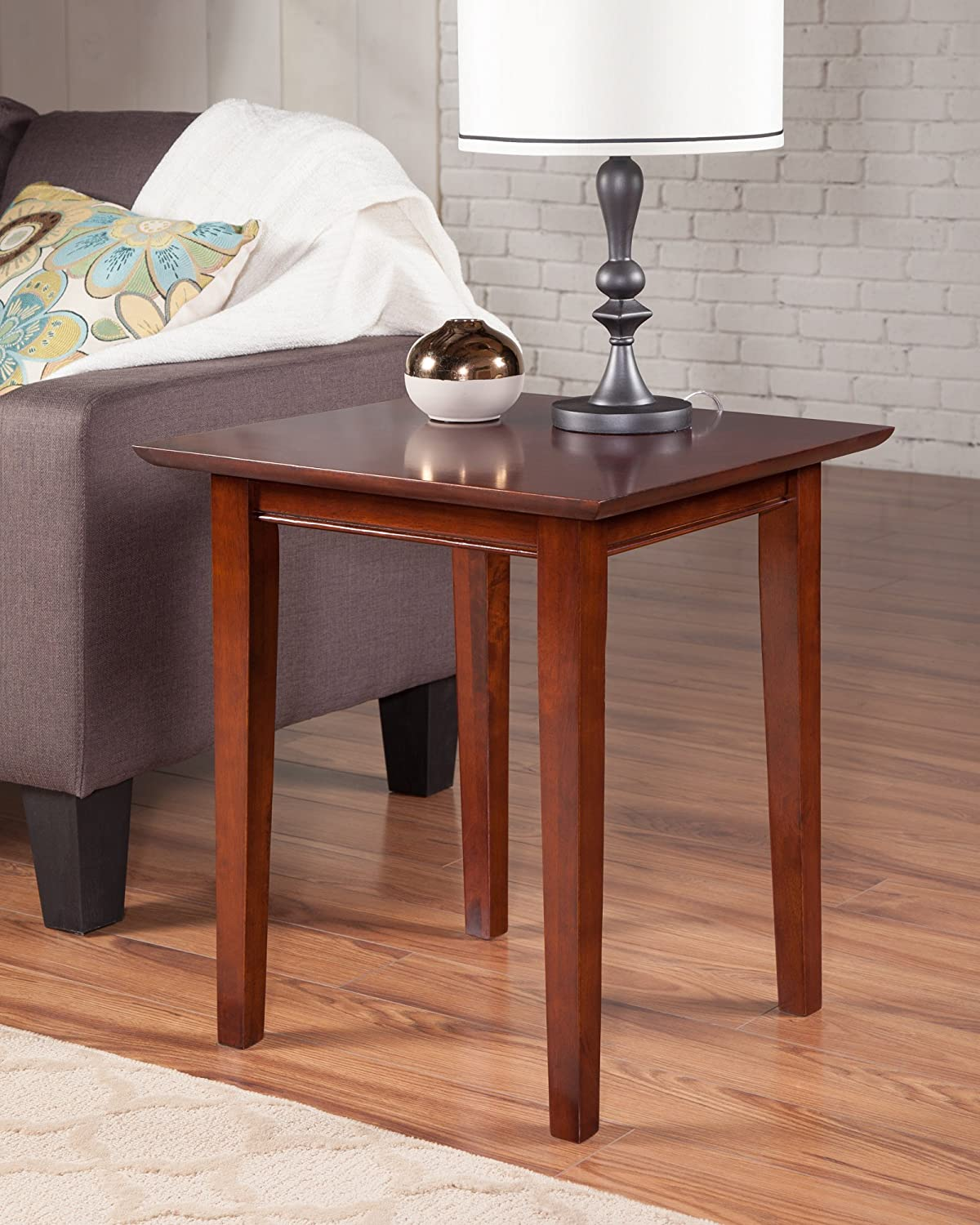 Amazon com atlantic furniture ah14104 shaker end table rubberwood walnut kitchen dining