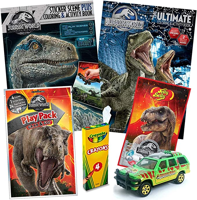 Amazon.com: Jurassic World Fallen Kingdom Coloring Book Toy Set By  ColorBoxCrate - 7 PACK - Includes TRex Raptor Activity Books, Mystery Jurassic  Park Matchbox Car, Crayons, Dinosaur Candy For Children Ages 4-10: