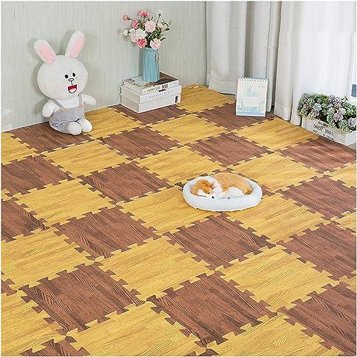 سجادة الألغاز الإسفنجية من WHAIYAO المتشابكة بلاط الخشب الحبوب الطابق طفل الزحف سجادة اللعب واقية الباردة ، 12 لونًا (اللون: B ، الحجم: 30X30X1CM-24PCS)