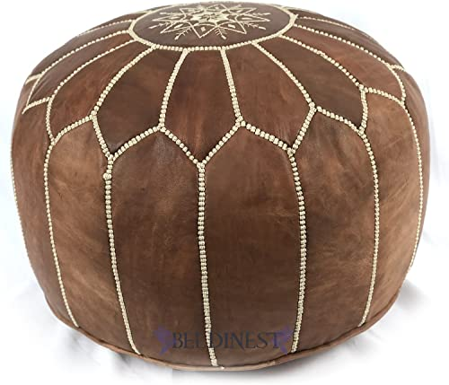 Stuffed Moroccan Dark Tan Leather Pouf
