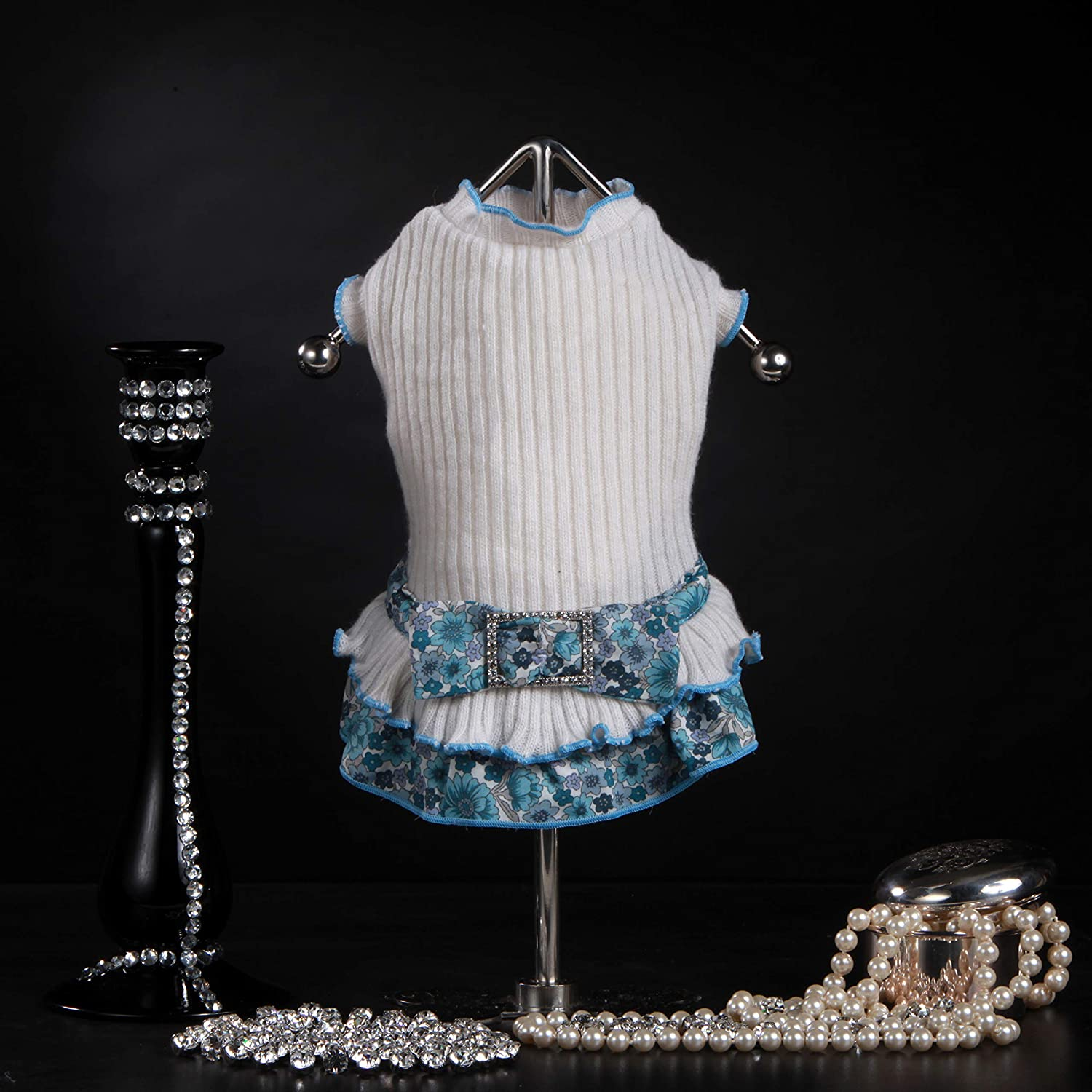 Trilly tutti Brilli Sara Wool Dress with Floral Frill and Bow Brooch White Rhinestones, XS 1 Product