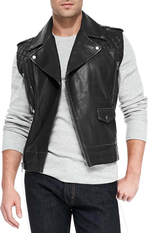 Mens Brando Slim Fit Quilted Style Bikers Black Genuine Lambskin Leather Vest Jacket