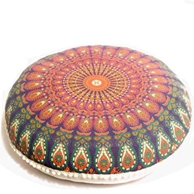 Mandala Life ART Bohemian Decor Floor Cushion Cover - 30 inches - Round Floor Pillow Pouf Cover - Colorful Orange 100% Hand Printed Organic Cotton