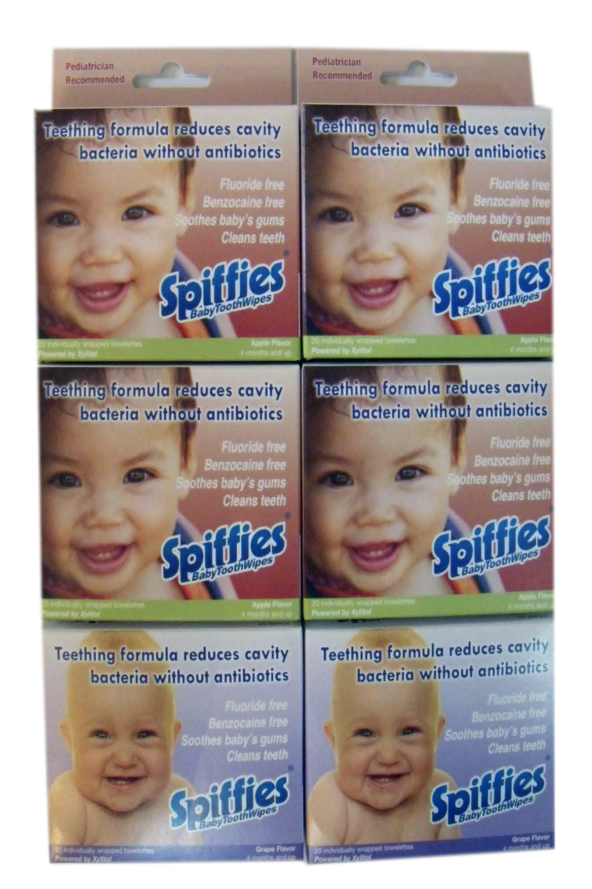 Spiffies Tooth Wipes, Multipack, Apple and Grape, 120-Count