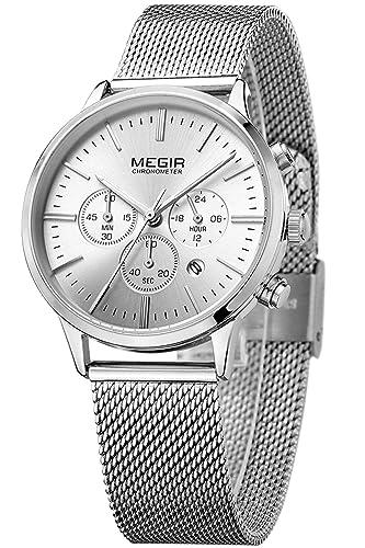 Megir Marcas Relojes Hombre Mujer Oro Negro Acero Lujo Deportivos Colores: Amazon.es: Relojes