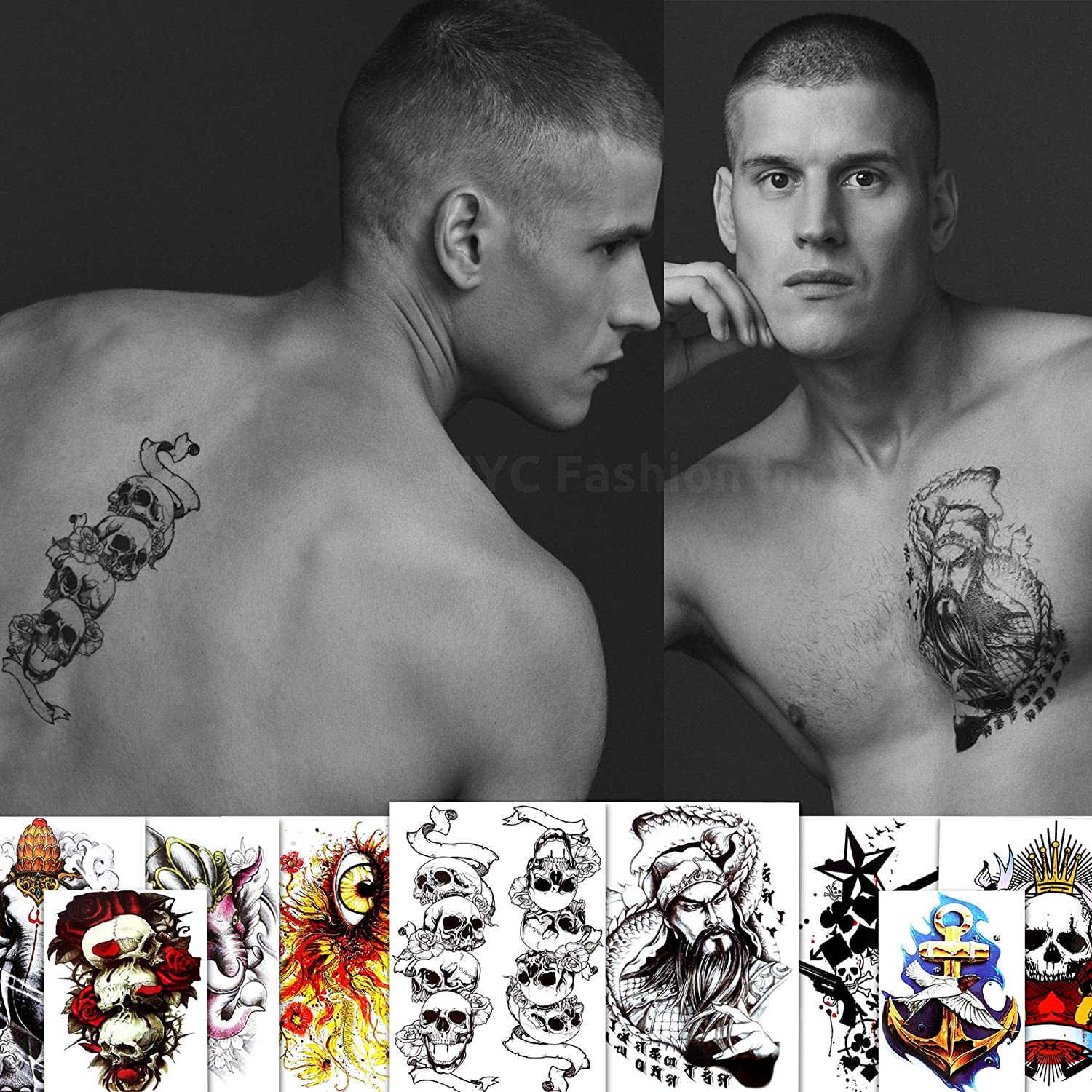 9 Large Cool Temporary Tattoos - For Men, Adults and Teens - Skull, Elephant, Eyes and More Body Art - Tattoos for Arms Legs Shoulders or Back