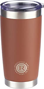 Righteous Man Proverbs 20:7 Brown Christian Travel Mug for Men (18oz Stainless Steel Double-Wall Vacuum Insulated Tumbler with Lid)