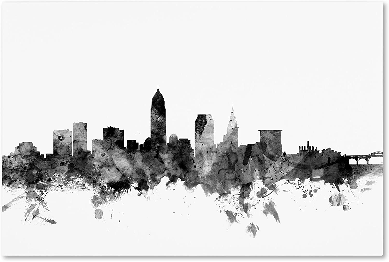 Cleveland Ohio Skyline B&W by Michael Tompsett, 30x47-Inch Canvas Wall Art