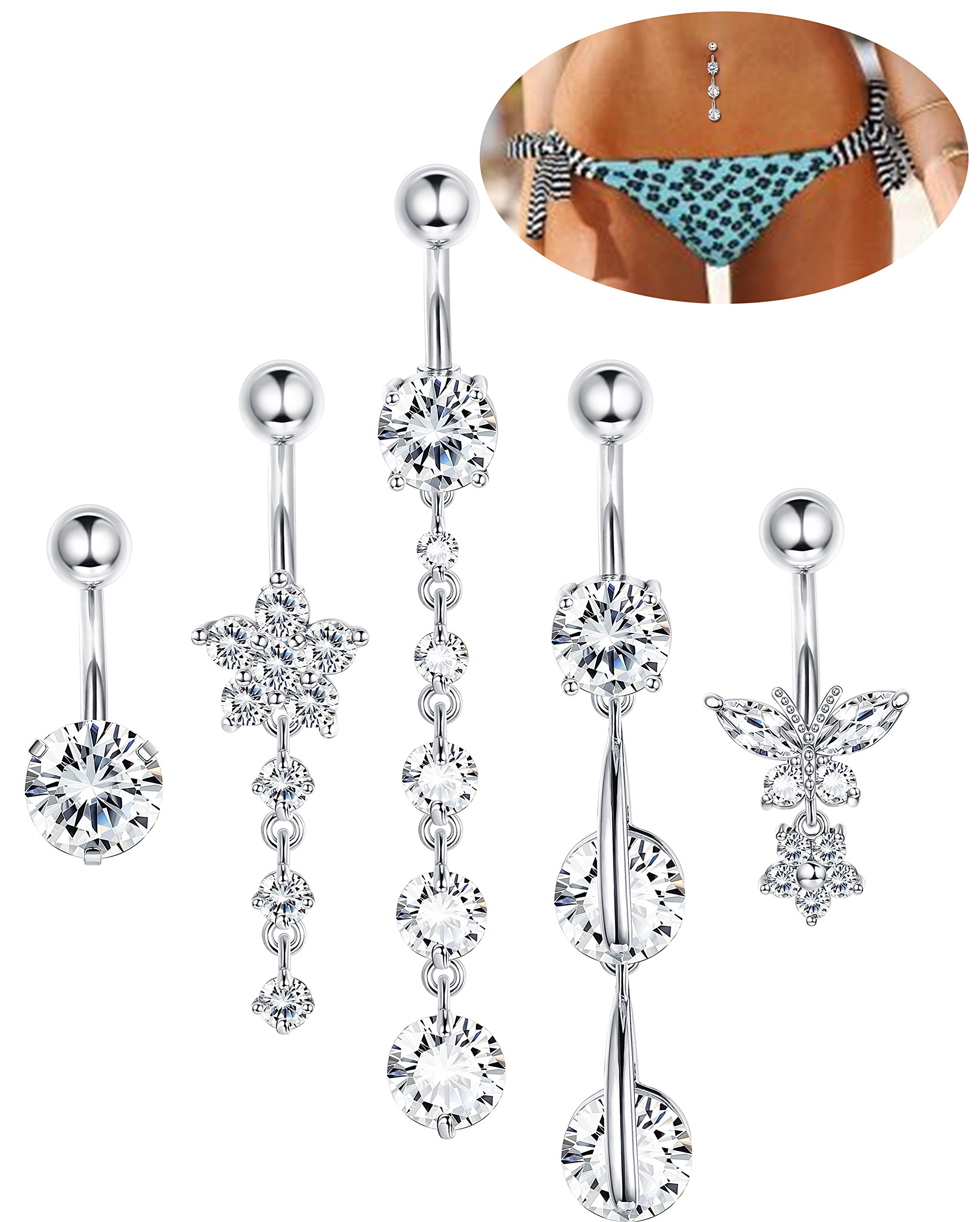 LOYALLOOK 5Pcs 14G Stainless Steel Screw Belly Button Rings for Women Girl Clear CZ Flower Butterfly Barbell Body Piercing Clear CZ