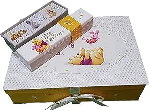 Caja de recuerdos para bebé con soporte de techo para el nacimiento y 3 cajas de recuerdo pequeñas en diseño de Winnie the Pooh de Disney: Amazon.es: Bebé