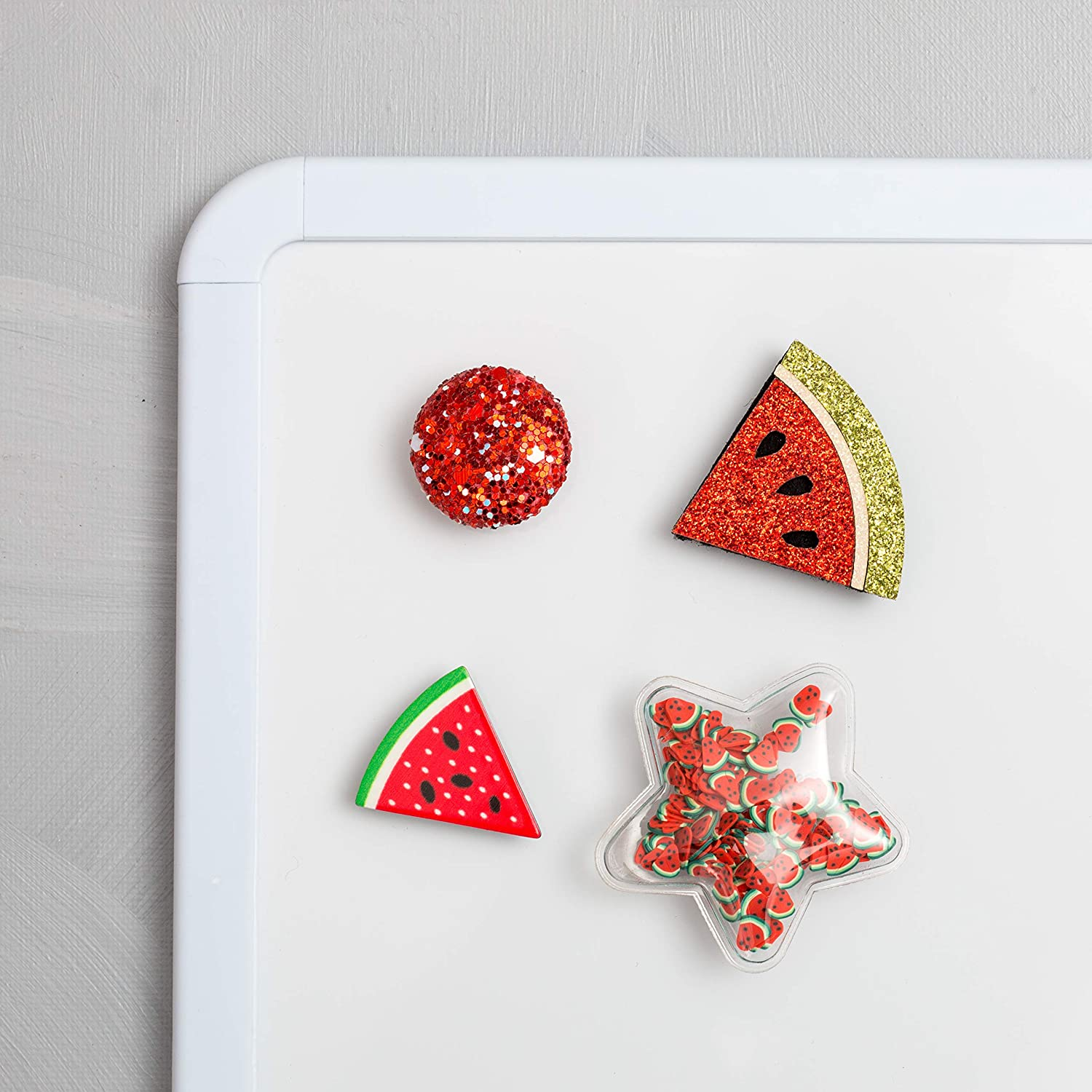 Refrigerator Magnets - Decorative Fridge Magnet Set - 4 Fridge Magnets for Cabinets, Whiteboards & Lockers - Colorful Magnets for Gift, Home Decor & Practical use - Watermelon Delight