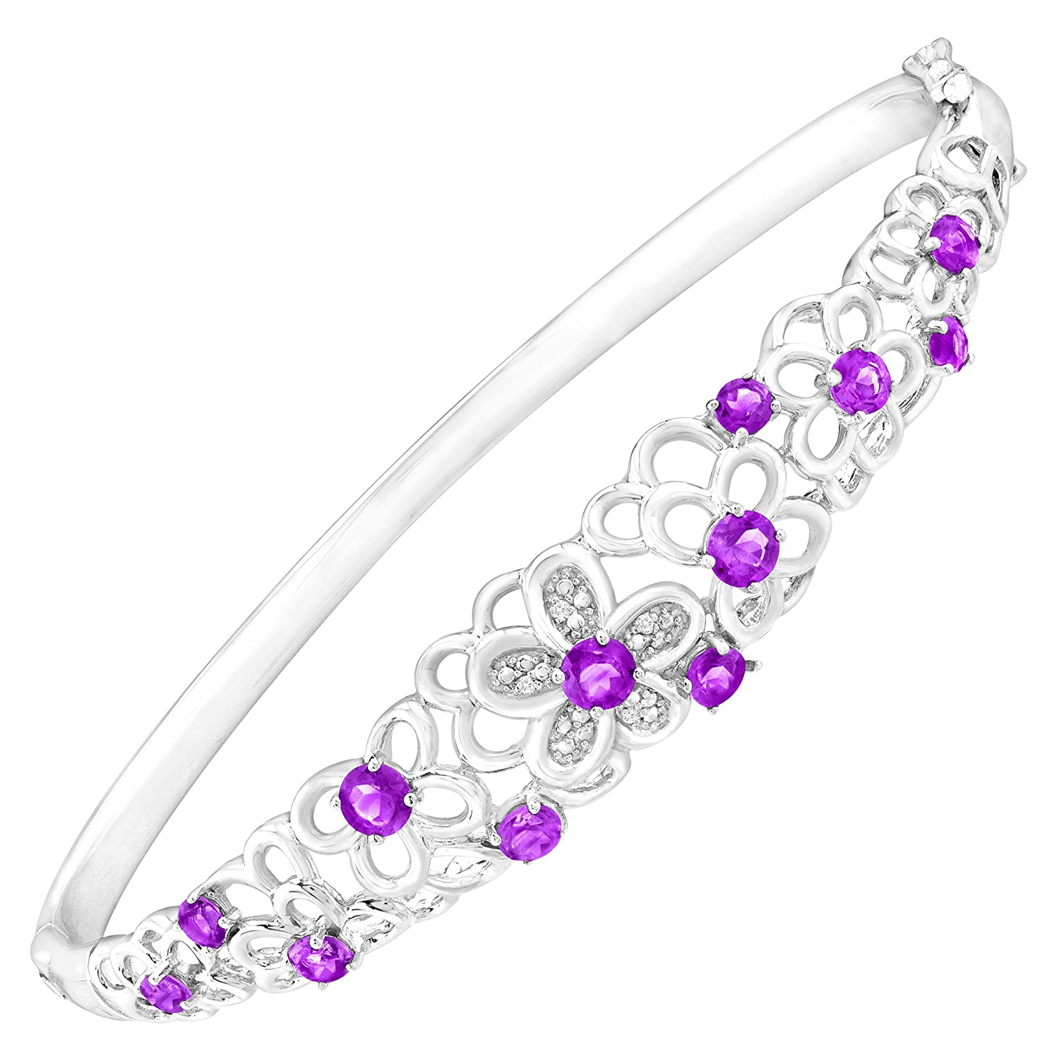 1 7/8 ct Natural Amethyst Bangle Bracelet with Diamonds in Sterling Silver