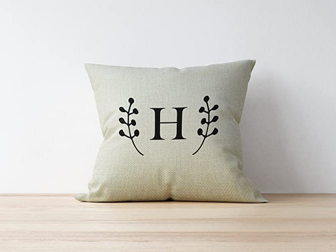 Amazon Com Letter Farmhouse Pillow Cover Rustic Custom Pillow Cover