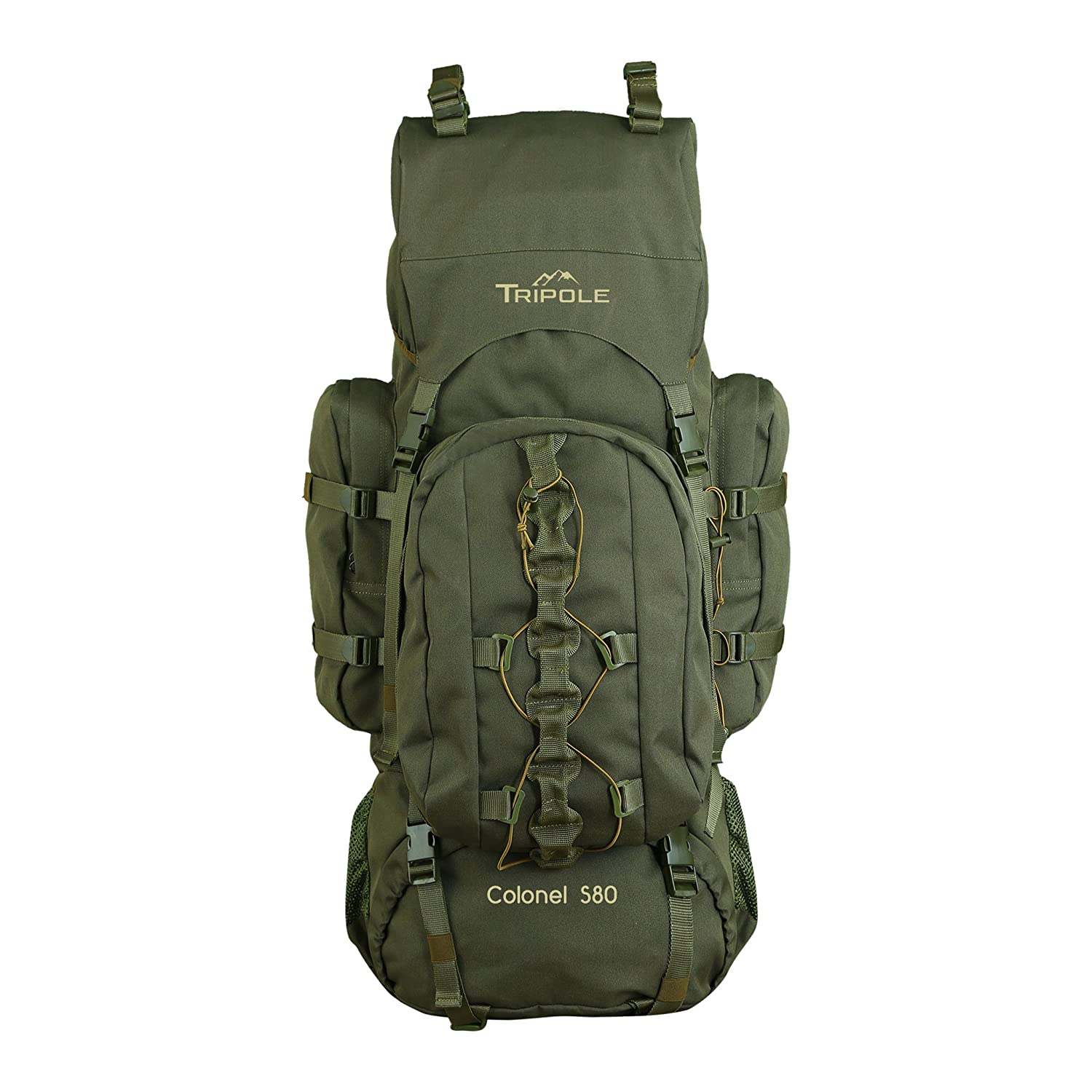 Tripole, Colonel 80 litres Rucksack + Detachable Day Pack, Army Green Rucksacks & Hiking Trekking Bags in India