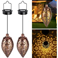 YGOCH Hanging Solar Lights 2 Pack, Waterproof Outdoor Solar Lantern LED Garden Lights, Retro Metal Decor Lights for…