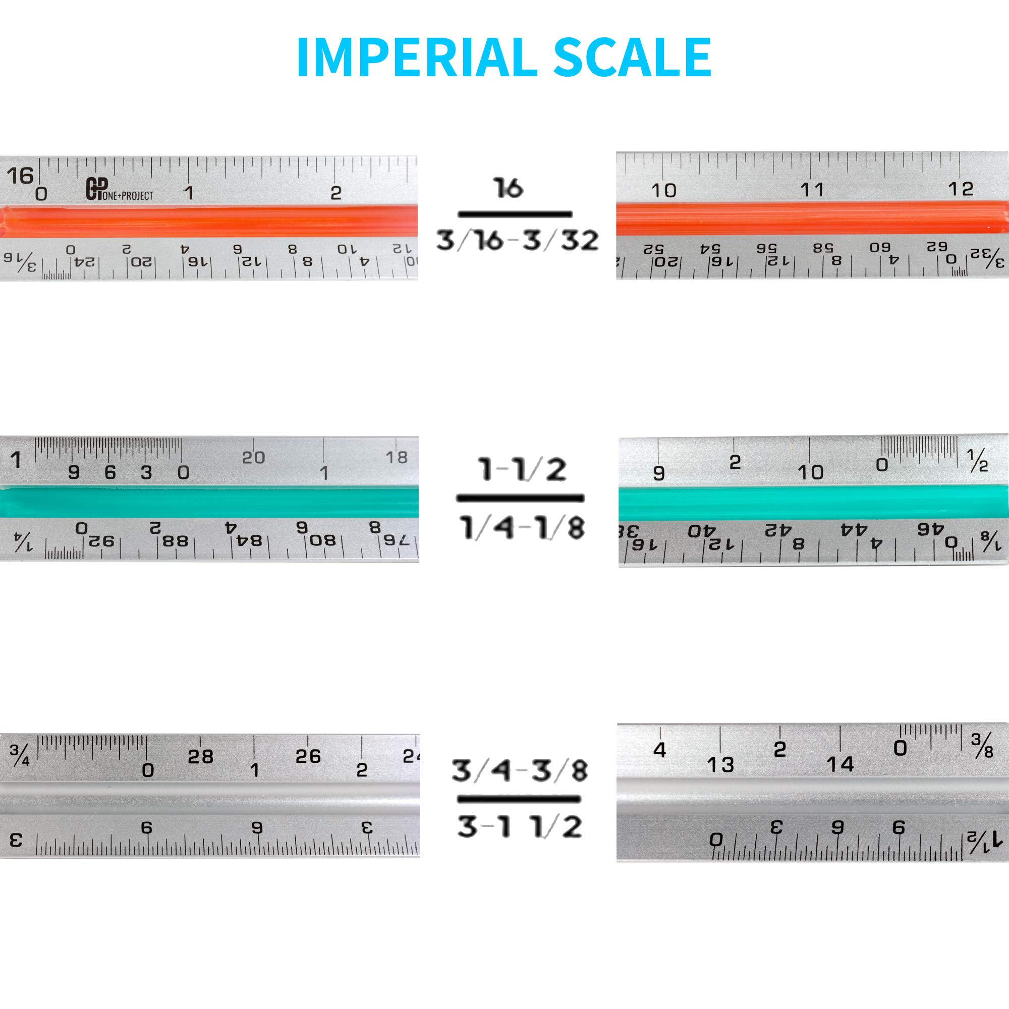 One+Project Triangular Architect Scale,12 – Inch Aluminum Ruler Color – Code Grooves with Protective Carrying Case - Imperial Measurements by One+Project (Image #4)