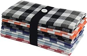 COTTON CRAFT Countryside Set of 12 Tailored Pure Cotton Dinner Napkins, 20 inch x 20 inch, Buffalo Check, Gingham, Assorted Colors