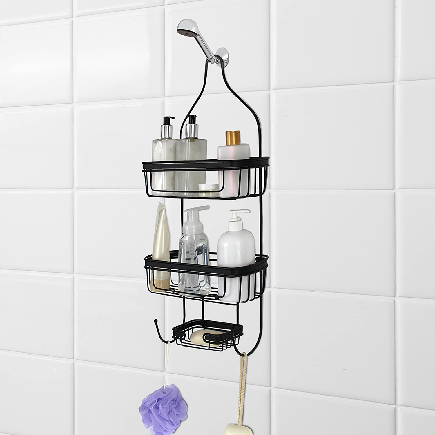 Splash Home Bathroom Door Or Hanging from Shower Head Caddy with Two Basket Organizers Plus Dish, 24 x 15 x 12, Black 092TONE/STBLKSPL