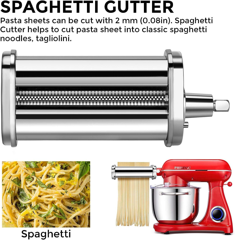 Accesorios Para Hacer Lasagnette 3 Piezas PHISINIC Accesorios Para Hacer Pasta Compatible con batidora PHISINIC y KitchenAid Fettuccine y Tagliolini Acero Inoxidable