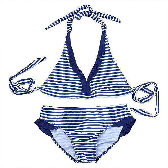 iiniim 2PCS Ropa de Baño para Chicas 8-16 Años Biquinis Halter Rayas Traje de Baño para Playa
