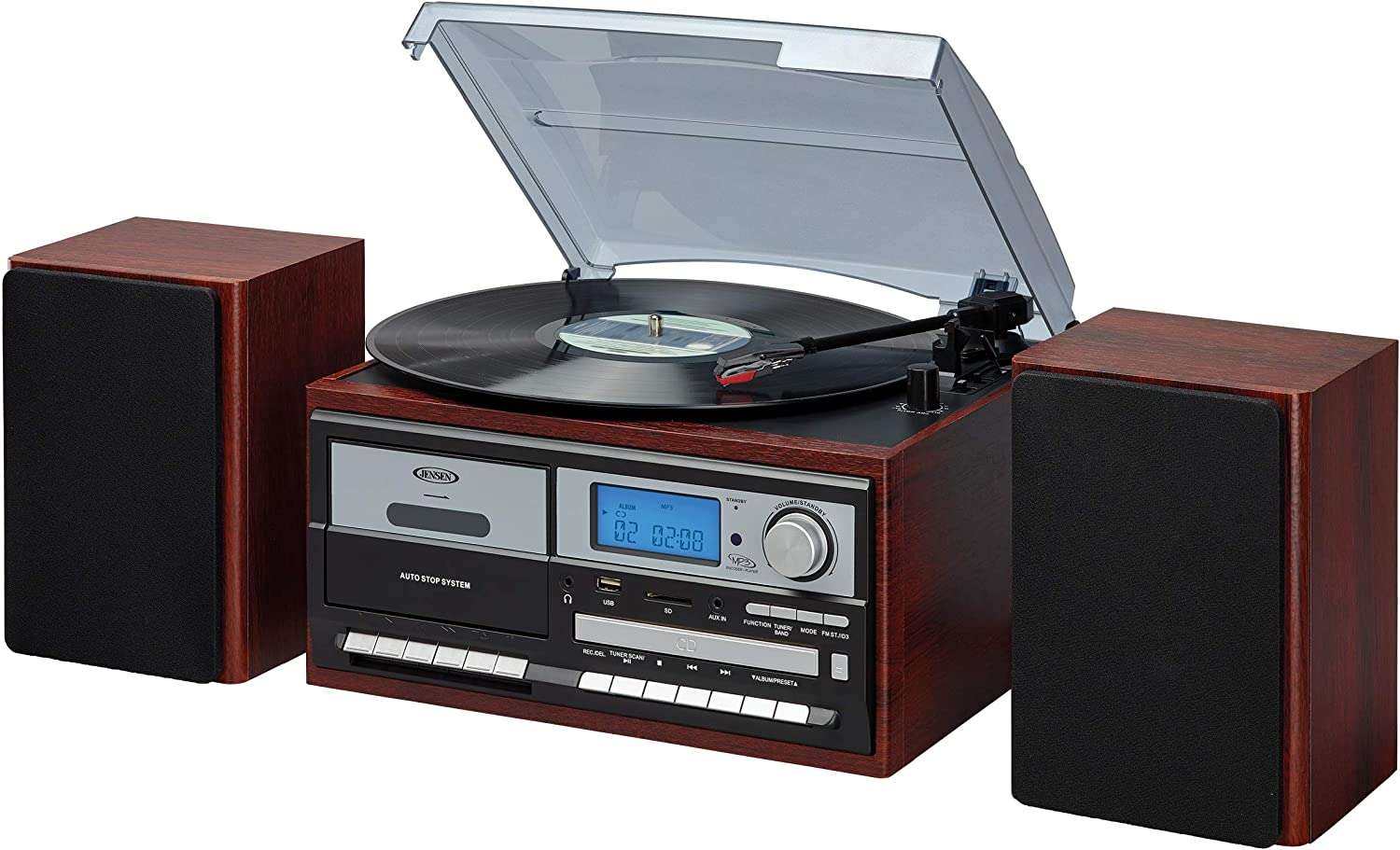 JENSEN JTA-575 3-Speed Stereo Turntable MP3 CD System with Cassette and AM/FM Stereo Radio