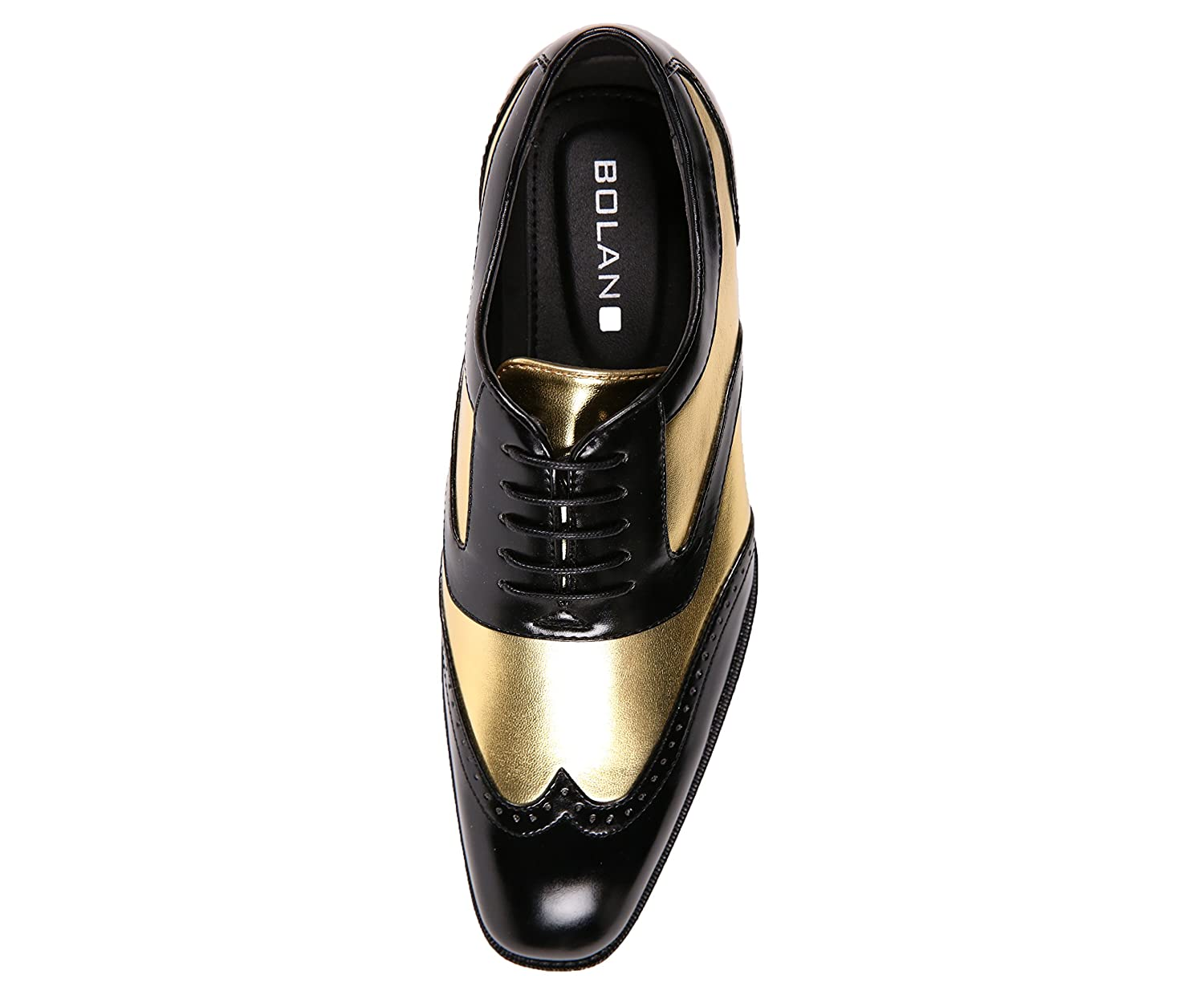 7eca2ca77c3cb Bolano Men's Two-Tone Metallic Black Smooth Lace up Oxford Dress Shoe, Wingtip  Spectator